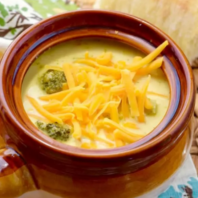 broccoli and cheddar soup is great food for braces