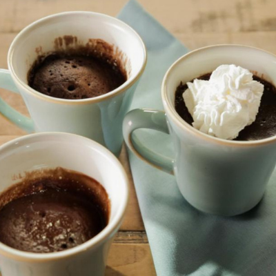 a delicious and braces safe treat, chocolate cake in a mug