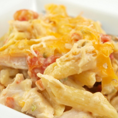 queso chicken pasta is a braces safe dinner